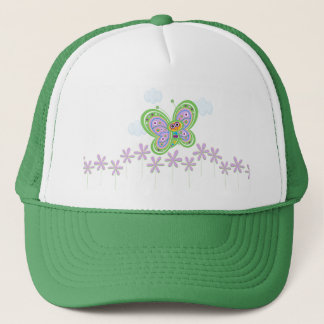 Smiling Butterfly and Flowers Trucker Hat