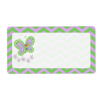 Smiling Butterfly and Zigzags Label