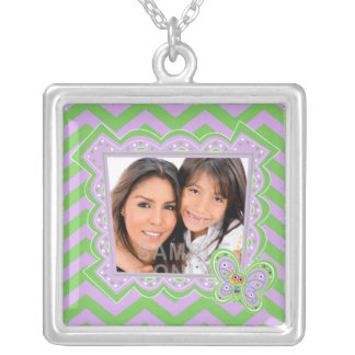 Smiling Butterfly and Zigzags Square Pendant Necklace