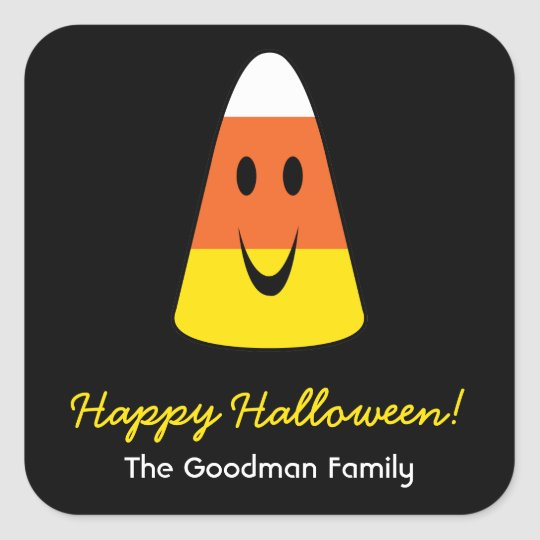 Smiling candy corn fun cute Halloween favor tag