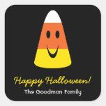 Smiling candy corn fun cute Halloween favor tag Square Sticker