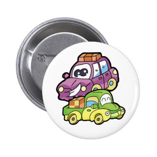Smiling Car and Truck Pinback Button
