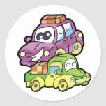 Smiling Car and Truck Classic Round Sticker