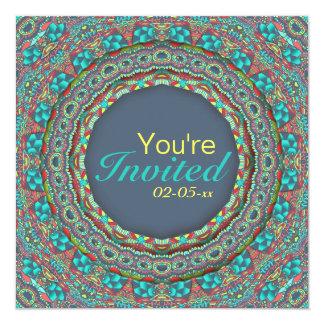 Smiling Carnival - blue - 5.25x5.25 Square Paper Invitation Card