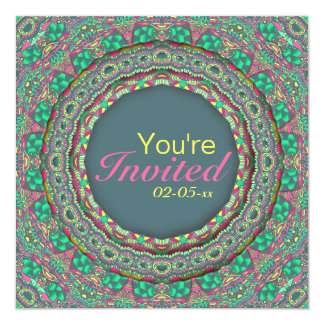 Smiling Carnival - green - 5.25x5.25 Square Paper Invitation Card
