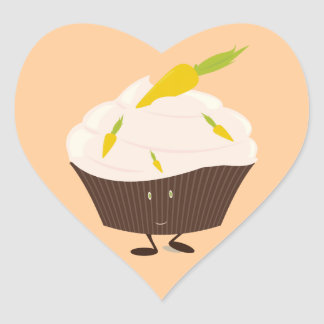 Smiling carrot cake cupcake heart sticker
