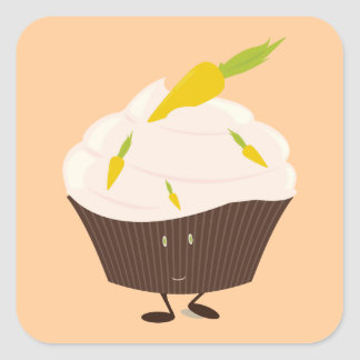 Smiling carrot cake cupcake square sticker