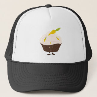 Smiling carrot cake cupcake trucker hat