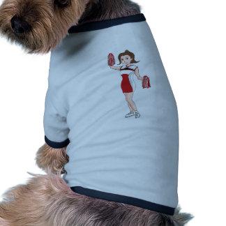 Smiling  Cartoon Brunette Cheerleader w/ Pom Poms Doggie Shirt