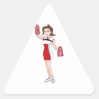 Smiling  Cartoon Brunette Cheerleader w/ Pom Poms Triangle Sticker