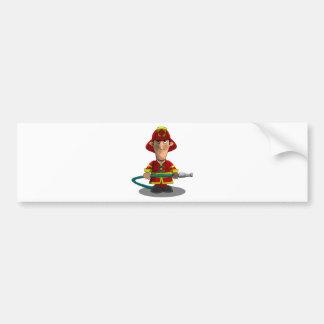 Smiling Cartoon Fireman/Firefighter Holding Hose Bumper Sticker