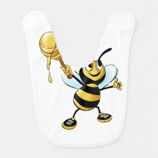 Smiling Cartoon Honey Bee Holding up Dipper Baby Bib