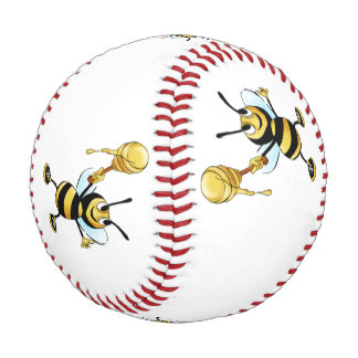 Smiling Cartoon Honey Bee Holding up Dipper Baseball