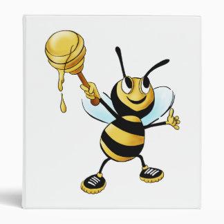 Smiling Cartoon Honey Bee Holding up Dipper Binder