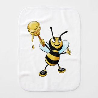 Smiling Cartoon Honey Bee Holding up Dipper Burp Cloth