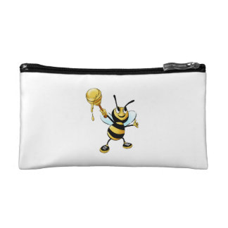 Smiling Cartoon Honey Bee Holding up Dipper Cosmetic Bag