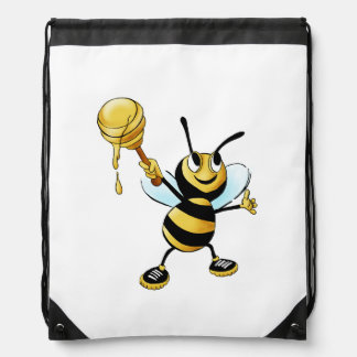 Smiling Cartoon Honey Bee Holding up Dipper Drawstring Bag