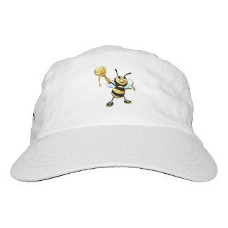 Smiling Cartoon Honey Bee Holding up Dipper Headsweats Hat
