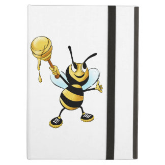 Smiling Cartoon Honey Bee Holding up Dipper iPad Air Cover