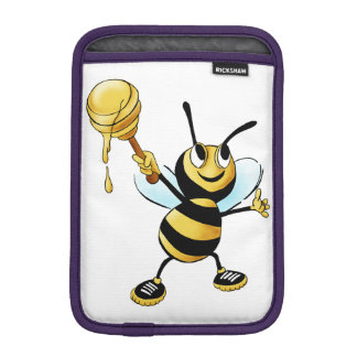 Smiling Cartoon Honey Bee Holding up Dipper iPad Mini Sleeve