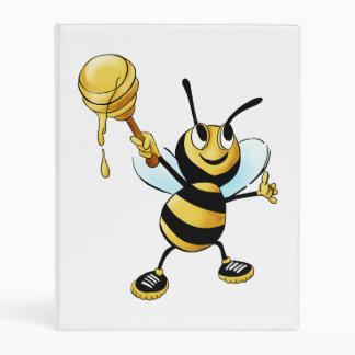 Smiling Cartoon Honey Bee Holding up Dipper Mini Binder