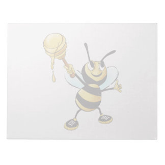 Smiling Cartoon Honey Bee Holding up Dipper Notepad