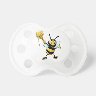 Smiling Cartoon Honey Bee Holding up Dipper Pacifier