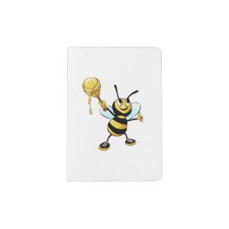 Smiling Cartoon Honey Bee Holding up Dipper Passport Holder