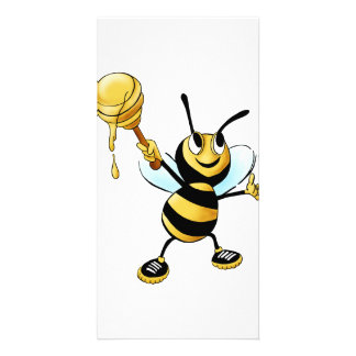 Smiling Cartoon Honey Bee Holding up Dipper Photo Card