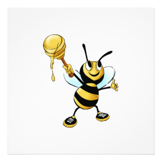 Smiling Cartoon Honey Bee Holding up Dipper Photo