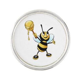Smiling Cartoon Honey Bee Holding up Dipper Pin