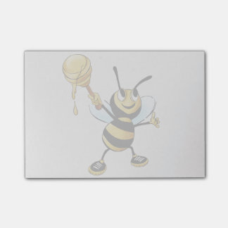 Smiling Cartoon Honey Bee Holding up Dipper Post-it Notes