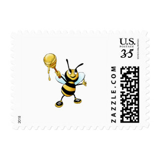 Smiling Cartoon Honey Bee Holding up Dipper Postage Stamps