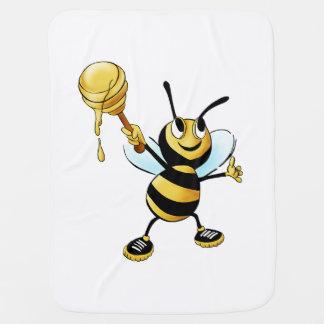 Smiling Cartoon Honey Bee Holding up Dipper Receiving Blanket