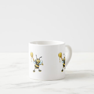 Smiling Cartoon Honey Bee Holding up Dipper Espresso Cup