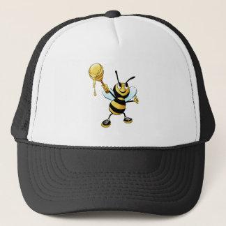 Smiling Cartoon Honey Bee Holding up Dipper Trucker Hat