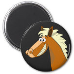 Smiling Cartoon Horse 2 Inch Round Magnet