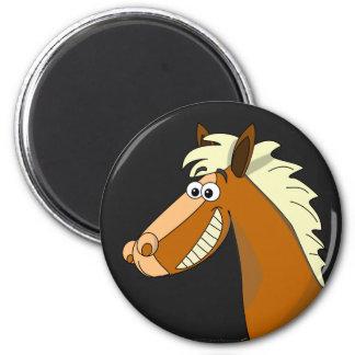 Smiling Cartoon Horse 2 Inch Round Magnet