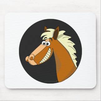 Smiling Cartoon Horse Mouse Pad