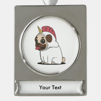 Smiling Cartoon Pug in a Unicorn Costume Silver Plated Banner Ornament