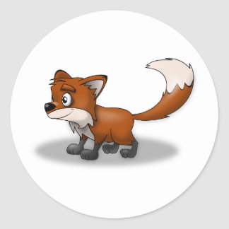Smiling Cartoon Red Fox Classic Round Sticker