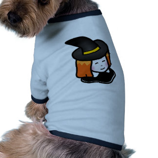 Smiling Cartoon Redheaded Witch Wearing Pointy Hat Doggie Tshirt