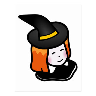 Smiling Cartoon Redheaded Witch Wearing Pointy Hat Post Cards