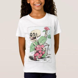 Smiling Cartoon Skeleton Grape Thief Girls T-shirt