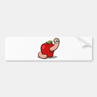 Smiling Cartoon Worm Popping Out of an Apple Car Bumper Sticker
