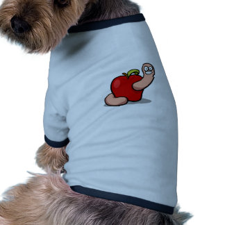 Smiling Cartoon Worm Popping Out of an Apple Pet T Shirt