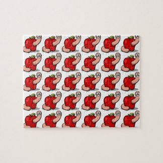 Smiling Cartoon Worm Popping Out of an Apple Jigsaw Puzzle