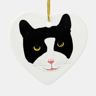 Smiling Cat Face Ceramic Ornament