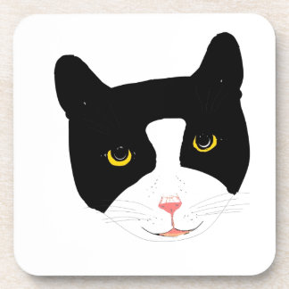 Smiling Cat Face Beverage Coasters