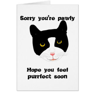 Smiling Cat Face Get Well Card